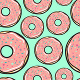 Seamless pattern. Vector. Delicate raspberry donuts. Seamless pattern. Vector illustration. Delicate raspberry donuts Stock Photos