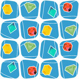 Seamless pattern with Vector diamond icons with long shadow Stock Photo