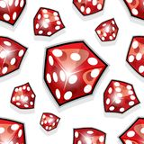 Seamless pattern of vector dice illustrations isolated on white. Background. Can be used as wallpaper, packaging, wrapping or any kind of decoration or print Royalty Free Stock Photo