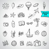 Seamless pattern vector doodle summer icons Stock Image