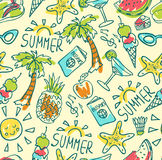 Seamless pattern of  vector doodle summer icons Royalty Free Stock Image