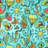 Seamless pattern of  vector doodle summer icons Royalty Free Stock Photos