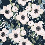 Seamless pattern Vector floral watercolor style design: garden powder Anemone flower. Silver Eucalyptus branch, succulent, greenery leaves. Rustic romantic royalty free illustration