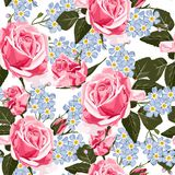 Seamless pattern vector floral watercolor style design, pink roses and blue forget-me-not flowers . stock illustration
