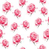 Seamless pattern vector floral watercolor style design, pink roses bud. Rustic romantic background print. Good for wedding invitation, greeting card and Royalty Free Stock Image