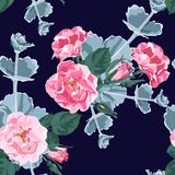 Seamless pattern vector floral watercolor style design: wild rose rosa canina dog rose garden flowers and succulent. Rustic romantic dark background print royalty free illustration