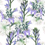 Seamless pattern Vector floral watercolor style design: wild violet flowers and white herbs. Rustic romantic background print. Good for wedding invitation royalty free illustration