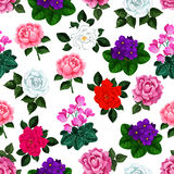 Seamless pattern of vector garden flowers bouquets. Spring flowers pattern of floral bouquets. Seamless vector design of roses, viola blossoms and flourish Stock Photography