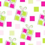 Seamless pattern vector with gift boxes and squares. Pink and green colors Royalty Free Stock Photos