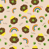Seamless pattern Vector green clover background Stock Photos