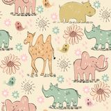 Seamless pattern. Vector hand draw seamless pattern with animals Vector Illustration