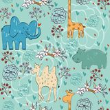 Seamless pattern. Vector hand draw seamless pattern with animals Royalty Free Illustration