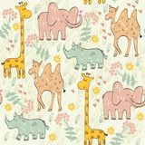 Seamless pattern. Vector hand draw seamless pattern with animals Stock Photo