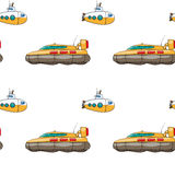 Seamless pattern.. Vector seamless pattern. Hand drawn water kids toy hovercraft, submarine Royalty Free Stock Photos