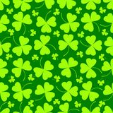 Seamless pattern. Vector illustration of clover leaves on green. St Patrick`s Day background. Stock Images
