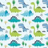 Seamless pattern. Vector illustration seamless pattern with Dinosaurs Royalty Free Stock Photos