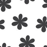 Seamless pattern. Vector illustration with flowers. Vintage floral print. Field of cute daisies. Textile design with black chamomiles on white background Stock Photo