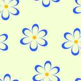 Seamless pattern. Vector illustration with flowers. Vintage floral print. Field of cute daisies. Textile design with blue chamomiles on yellow background Stock Images