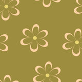 Seamless pattern. Vector illustration with flowers. Vintage floral print. Field of cute daisies. Textile design with chamomiles on green background. Spring or Royalty Free Stock Photography