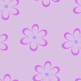 Seamless pattern. Vector illustration with flowers. Vintage floral print. Field of cute daisies. Textile design with chamomiles on purple background. Spring or Royalty Free Stock Photography