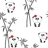 Seamless pattern, vector illustration, funny panda Royalty Free Stock Images