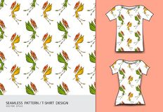 Seamless pattern vector illustration, T-shirt design, Cute little fairy cartoon, angel, Comics in fairy tales, fabric texture. Fashion wear, clothing, Fantasy Royalty Free Stock Photo