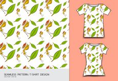 Seamless pattern vector illustration, T-shirt design, Cute little fairy cartoon, angel, Comics in fairy tales, fabric texture. Fashion wear, clothing, Fantasy Stock Photo