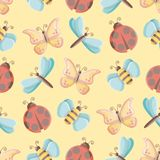 Seamless pattern of vector insects over yellow background vector illustration