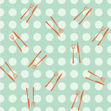 Seamless Pattern. Vector seamless  netting pattern with orange cutlery Royalty Free Stock Photos