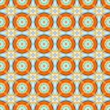 Seamless pattern, vector, orange circles and white stars. Royalty Free Stock Photos