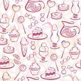 Seamless pattern with pastry elements. Seamless pattern with vector pastry elements.  Situable for wallpaper, wrapping  or textile. EPS10 Royalty Free Stock Images