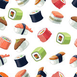 Seamless Pattern with Vector picture set of Sushi rolls food. And japanese sea food. Sushi illustration set with flat color. Sushi icons isolate on light Stock Photography