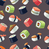 Seamless Pattern with Vector picture set of Sushi rolls food Stock Photo