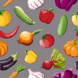 Seamless pattern of vector pixel vegetables on black. Background Vector Illustration