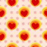 Seamless pattern vector of red heart on pink background. Love concept Royalty Free Stock Photo