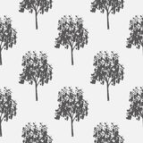 Seamless pattern, vector repeating illustration, decorative ornamental stylized endless trees. Abstract background. Seamles graphic illustration Artistic line royalty free illustration