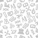 Seamless pattern of vector science symbols Royalty Free Stock Image