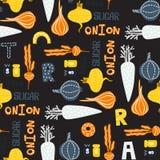 Seamless pattern with vector vegetables. Bright kitchen illustration modern textured flat style stock illustration