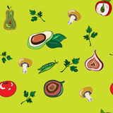 Seamless pattern vector vegetables. On a green background stock illustration