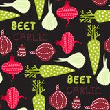 Seamless pattern with vector vegetables. Bright kitchen illustration modern textured flat style royalty free illustration