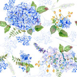 Seamless Pattern. Vector Watercolor Blue Hydrangea, Lavender. Royalty Free Stock Images