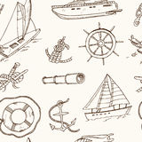Seamless pattern vector yachting doodle icons.  objects. Royalty Free Stock Photography