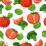 Seamless pattern with vegetable decoration. Wallpaper with a pattern of tomatoes, broccoli and spinach. Vegetable Stock Image