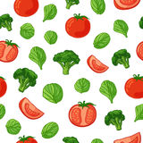 Seamless pattern with vegetable decoration. Wallpaper with a pattern of tomatoes, broccoli and spinach. Vegetable Stock Images