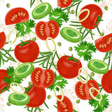 Seamless pattern with vegetable organic food. Seamless background with cucumber, onions, tomato. Vector illustration Royalty Free Stock Image