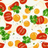 Seamless pattern with vegetable organic food. Seamless background with cucumber, onions, tomato. Vector illustration Stock Photos