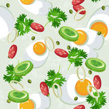 Seamless pattern with vegetable organic food. Seamless background with cucumber, onions, tomato. Vector illustration Royalty Free Stock Images