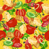 Seamless pattern with vegetable organic food. Seamless background with cucumber, onions, tomato. Vector illustration Royalty Free Stock Photography