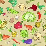 Seamless pattern with vegetables. Stock Photography