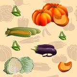 Seamless pattern vegetables: corn, pumpkin Stock Photo